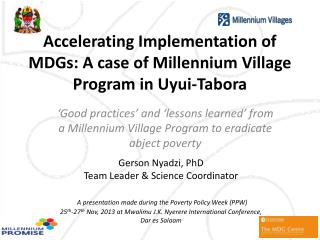 Accelerating Implementation of MDGs: A case of Millennium Village Program in Uyui- Tabora