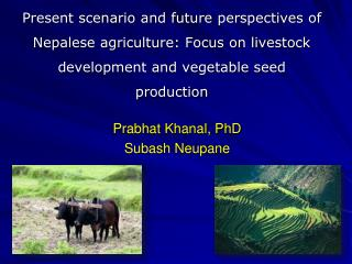 Present scenario and future  perspectives  of Nepalese agriculture: Focus on livestock  development and vegetable seed