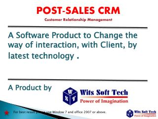 POST-SALES CRM Customer Relationship Management