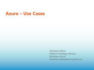 Azure – Use Cases