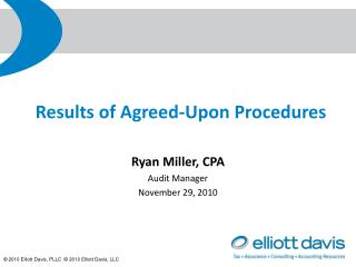 Results of Agreed-Upon Procedures