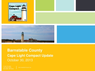 Barnstable County Cape Light Compact Update