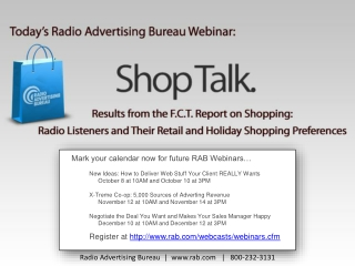Mark your calendar now for future RAB Webinars… New  Ideas: How to Deliver Web Stuff Your Client REALLY  Wants October