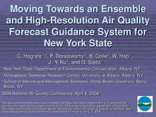 moving towards an ensemble and high-resolution air quality forecast guidance system for new york state