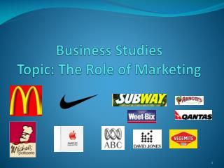 Business Studies  Topic: The Role of Marketing
