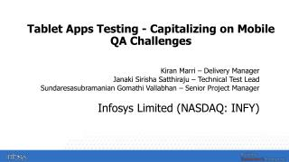 Tablet Apps Testing - Capitalizing on Mobile QA Challenges