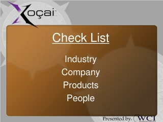 Check List Industry Company Products People