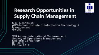 Research Opportunities in Supply Chain Management