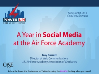 A Year in  Social Media at the Air Force Academy Troy Surratt Director of Web Communications U.S. Air Force Academy Ass