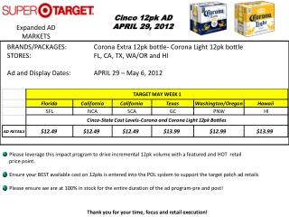 Cinco  12pk AD APRIL 29, 2012