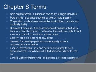 Chapter 8 Terms