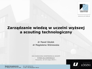 Zarządzanie wiedzą w uczelni wyższej a  scouting  technologiczny