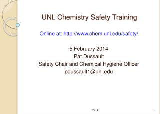 UNL Chemistry Safety Training