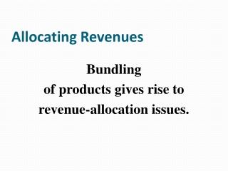 Allocating Revenues