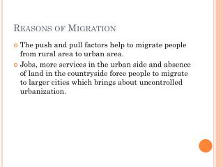 Reasons  of  Migration