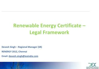 Renewable Energy Certificate – Legal Framework