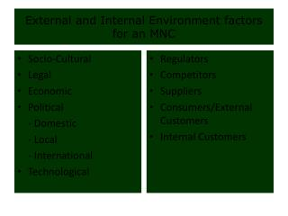 External and Internal Environment factors for an MNC