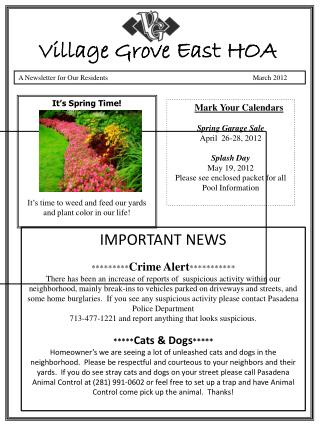 A Newsletter for Our Residents	 	                                     March 2012