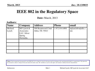 IEEE 802 in the Regulatory Space