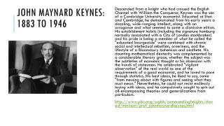 John Maynard Keynes: 1883 to 1946