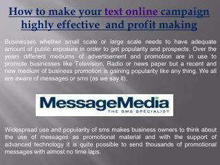 how to make your text on line campaign highly effective  and