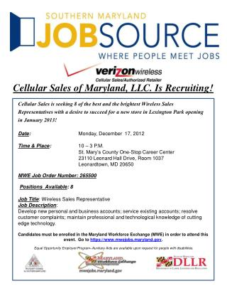 Cellular Sales of Maryland, LLC. Is Recruiting!