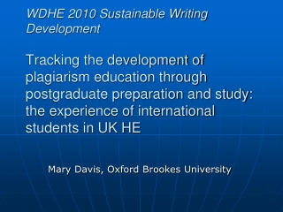 Mary  Davis, Oxford Brookes  University