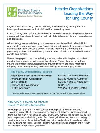 Healthy Organizations  Leading the Way  for King County