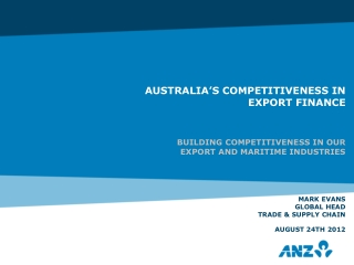 ANZ Trade & Supply Chain is a leading commodity and trade finance bank with a strong presence in the Asia-Pacific