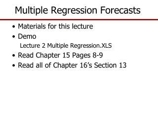 Multiple Regression Forecasts