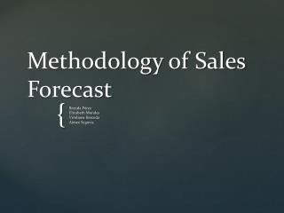 Methodology  of Sales  Forecast