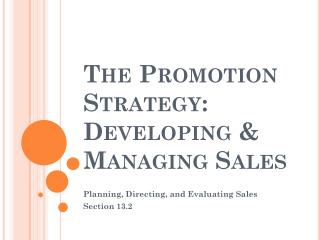 The Promotion Strategy: Developing & Managing Sales