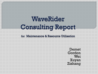 WaveRider Consulting Report for Maintenance & Resource Utilisation