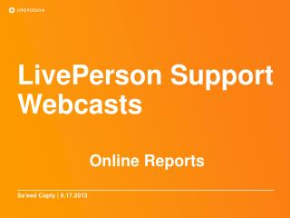 LivePerson  Support Webcasts