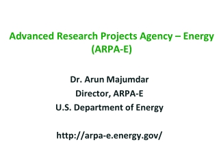 Advanced Research Projects Agency � Energy  (ARPA-E)