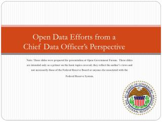 Open Data Efforts from a Chief Data Officer's Perspective
