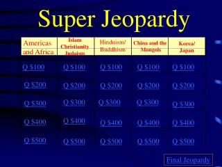 Super Jeopardy Americas and Africa