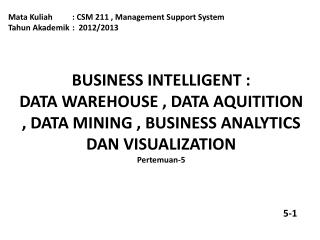 Mata Kuliah: CSM 211 , Management Support System Tahun Akademik:  2012/2013