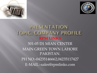 Presentation Topic :-COMPANY PROFILE