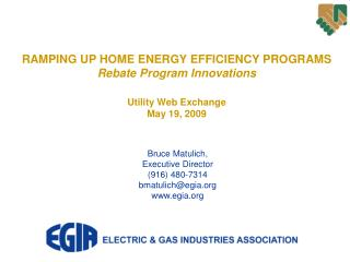 RAMPING UP HOME ENERGY EFFICIENCY PROGRAMS Rebate Program Innovations Utility Web Exchange May 19, 2009