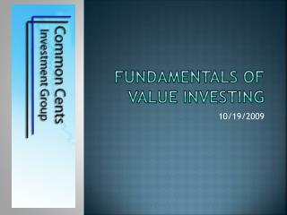 fundamentals of Value  Investing