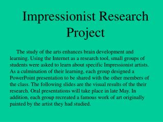 impressionist research project