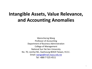 Intangible Assets, Value Relevance, and Accounting Anomalies