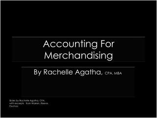 Accounting For Merchandising