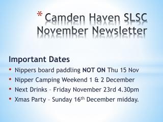 Camden Haven SLSC November Newsletter