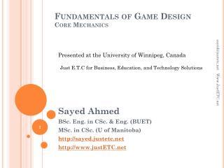 Fundamentals of Game Design Core Mechanics