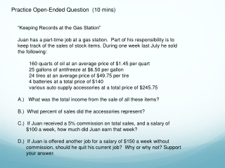 Practice Open-Ended Question  (10  mins )