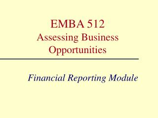 Financial Reporting Module
