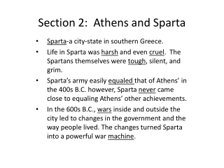Section 2:  Athens and Sparta
