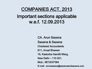 COMPANIES ACT, 2013 Important sections applicable  w.e.f . 12.09.2013